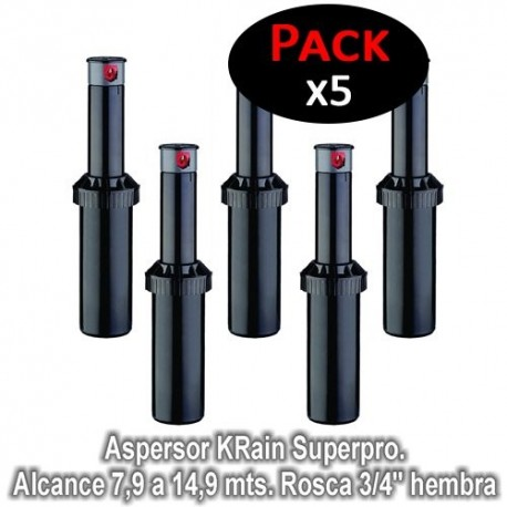 """Aspersor KRain Superpro. Alcance 7,9 a 14,9 mts. Rosca 3/4"""" hembra (Pack de 5 unidades)"""