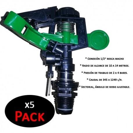 """Aspersor agrícola 1/2"""" sectorial plástico Aspersor de impacto agricola de bajo caudal, rosca macho (Pack de 5 Unidades)"""