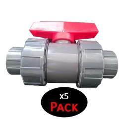 """Válvula de esfera PVC de roscar 40mm 1 1/4"""" (Pack de 5 unidades)"""
