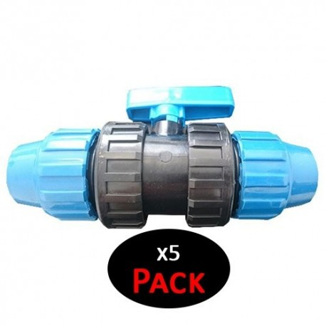 Válvula PVC fitting. 25mm Enlace de polietileno (Pack de 5 Unidades)