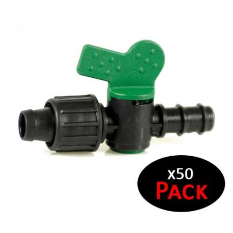 Llave de paso goteo 16mm a cinta de riego por goteo 16mm (Pack de 50 unidades)