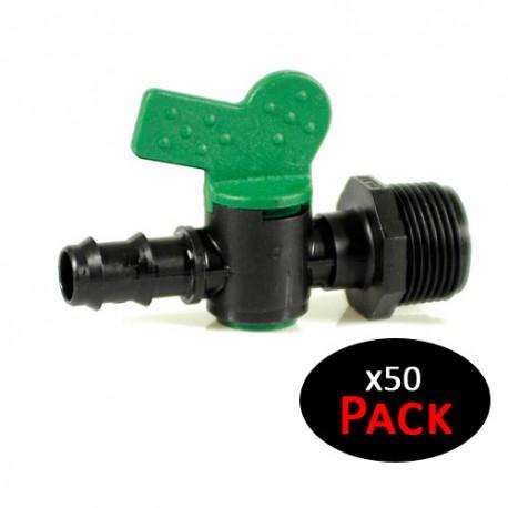 """Llave de paso 16mm para riego por goteo x 1/2"""" rosca macho (Pack de 50 unidades)"""