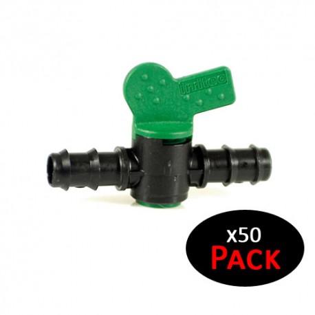 Llave de paso para riego por goteo 20mm a toma 20mm (Pack de 50 unidades)