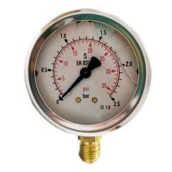 """Manómetro de glicerina 0-2,5 Bar 1/4"""""""