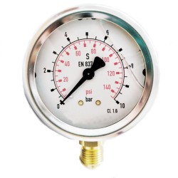 """Manómetro de glicerina 0-10 Bar 1/4"""""""